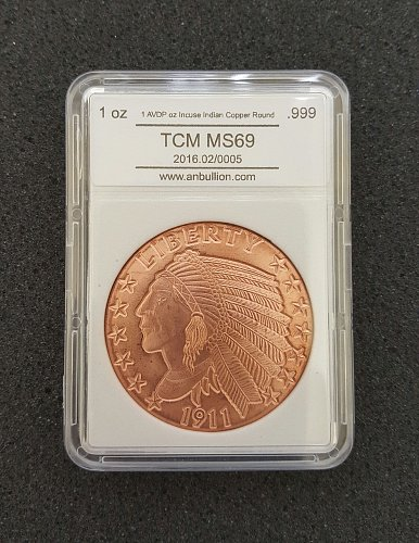 1 oz Incuse Indian Copper Round (New)