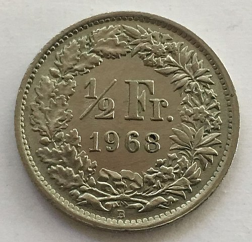 SWITZERLAND 1968 B  1/2 FRANC