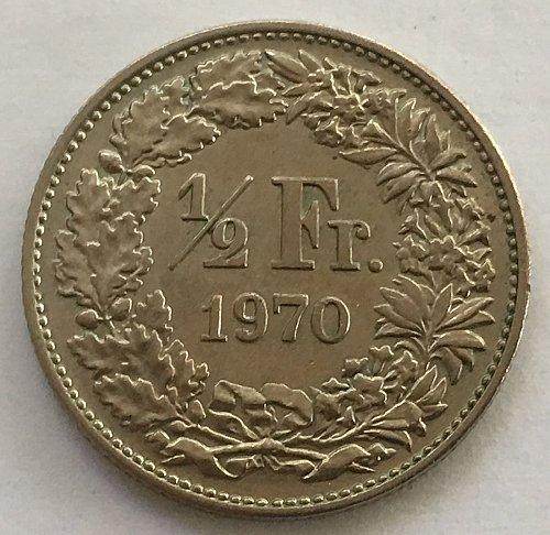 SWITZERLAND 1970  1/2 FRANC