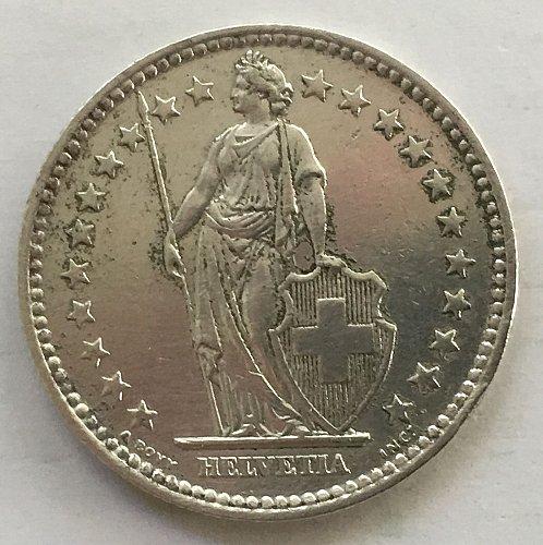 SWITZERLAND 1958 B  2 FRANCS SILVER