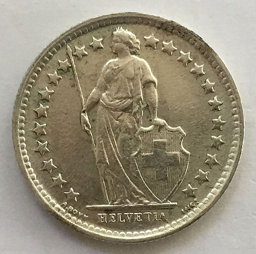 SWITZERLAND 1960 B  1/2 FRANC SILVER