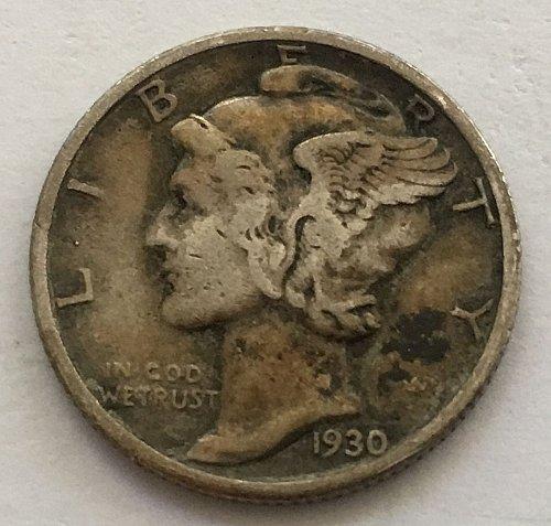 1930 P Mercury Dime Toned