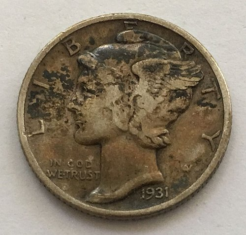 1931 P Mercury Dime Toned