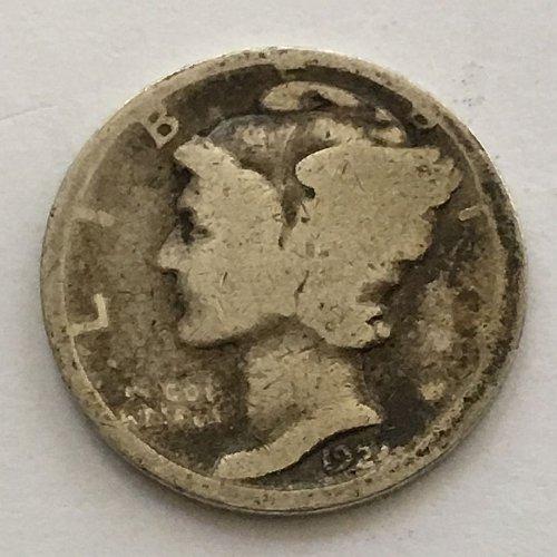 1924 P Mercury Dime Toned