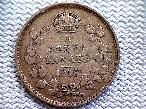 "1918 CANADA FIVE CENT COIN ""SILVER"""
