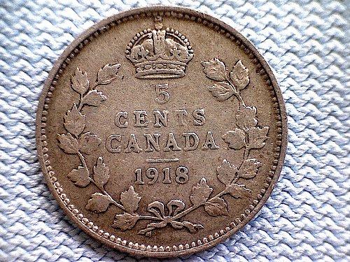 "1918 CANADA FIVE CENT COIN ""SILVER"""