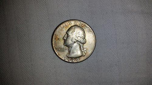 1939s silver Washington quarter