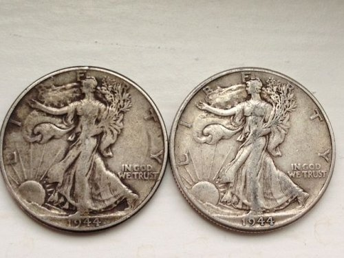 Pair of 1944 P Walking Liberty Half Dollars - No Reserve
