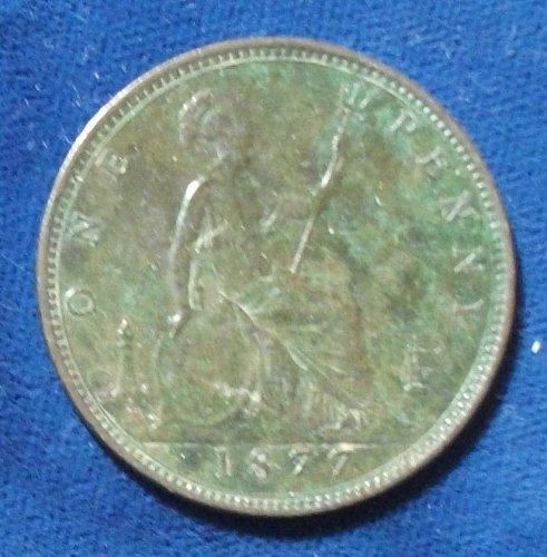 1877 Great Britain Wide Date Penny VF