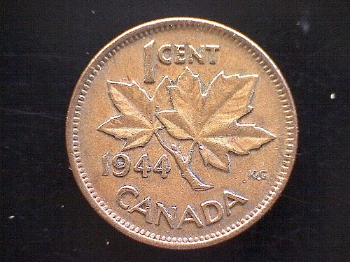 1944  CANADA  ONE CENT  KING GEORGE V1 BRONZE