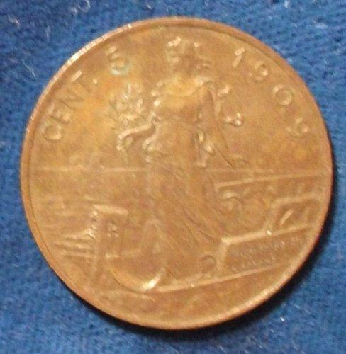 1909 Italy 5 Centesimi AU+
