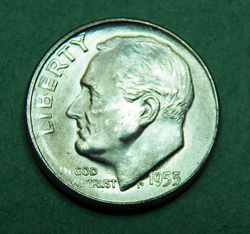 1953 S Roosevelt Dime Brilliant Uncirculated Coin   e91