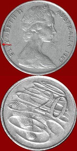 Moneta Australiana del 1967 di 20  Cents   ELIZABETH II Errore conio