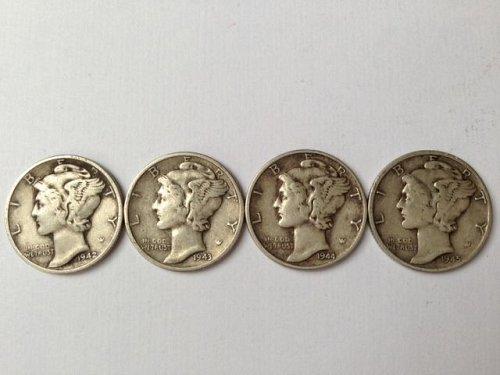 1942, 1943, 1944 & 1945 P Mercury Dimes - Lot of (4)