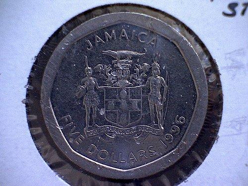1996 JAMAICA FIVE DOLLAR COIN