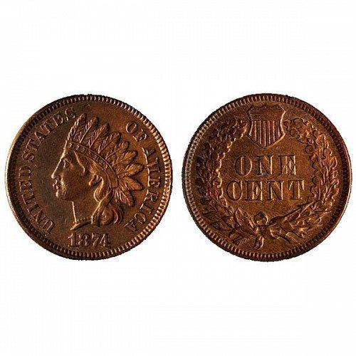 1874 Indian Head Cent - AU