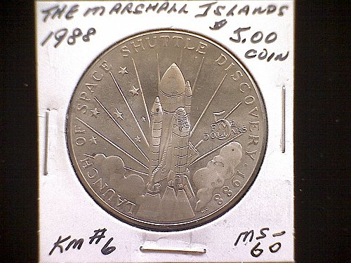 1988  THE MARSHALL ISLANDS FIVE DOLLAR COIN