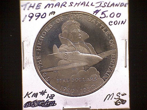 1990M  THE MARSHALL ISLANDS   FIVE DOLLAR COIN