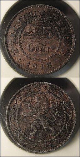 Belgium 1918 25 Centimes Copper/Zinc