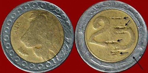 Moneta Bi-Metallic Di Algeria  Di 20 Dinar del 1992 M (AH 1413) Doppia data -è