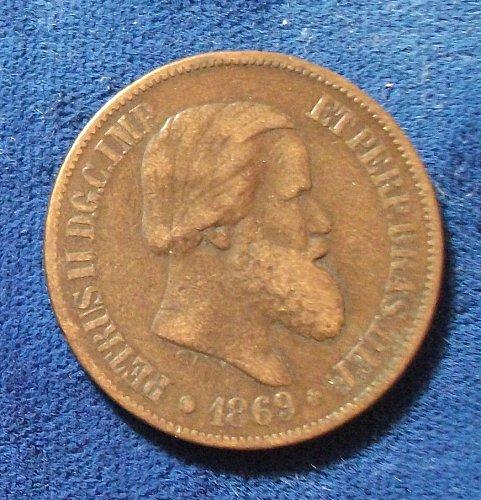 1869 Brazil 20 Reis Fine