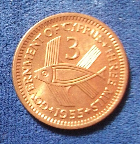 1955 Cyprus 3 Mils BU