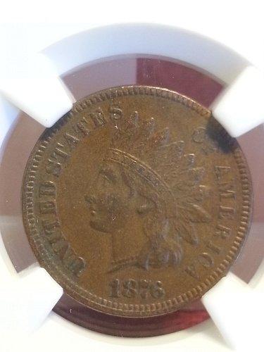 1876 Indian Head Cent NGC AU-53