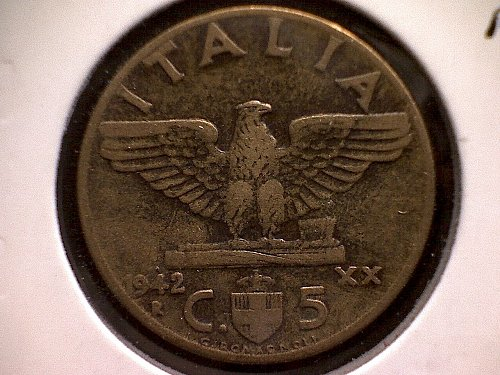 1942Rxx  ITALY FIVE CENTESIMI
