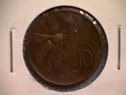 1922R  ITALY  TEN CENTESIMI