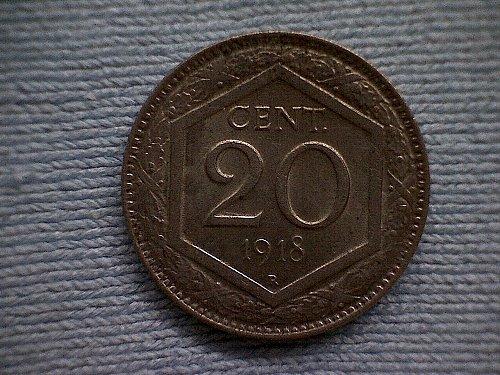 1918R ITALY TWENTY CENTESIMI