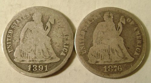 1891-O & 1876 Seated Liberty Dimes Free Shipping