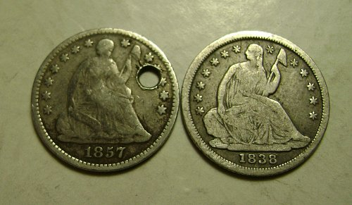 1857 & 1838 Large or Small Stars Seated Liberty Half Dimes Free Shipping