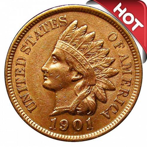 1901 Indian Head Cent - AU / BU - 3 1/2+ Diamonds