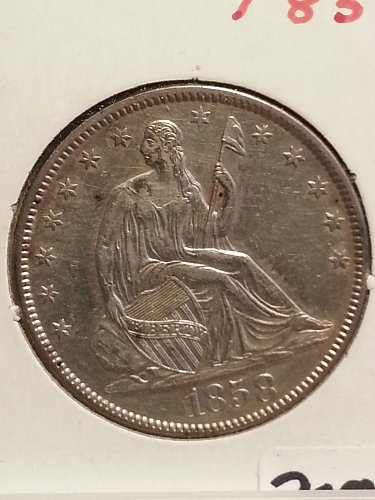 1858 Seated Liberty Half