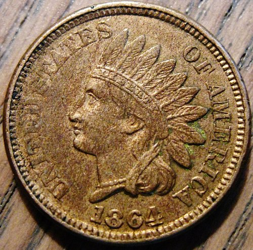 1864 Indian Head Cent AU55 to AU58 with 4 Diamonds #93