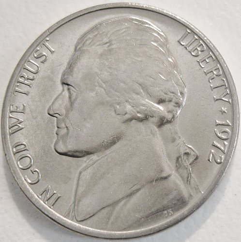 1972-P GEM BU Jefferson Nickel Deeply Struck Nearly Full Steps Minimal Toning