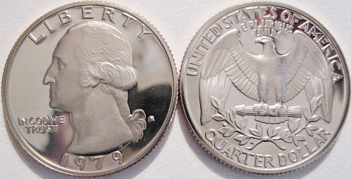 1979-S Clad Deep Cameo Proof Washington Quarter Type 1 Filled S Minimal Toning