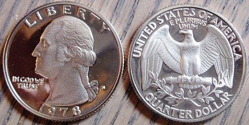 1978-S Clad Deep Cameo Proof Washington Quarter Minimal Toning