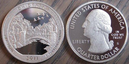 2011-S SILVER Deep Cameo Proof Chickasaw / Washington Quarter Blast White Color