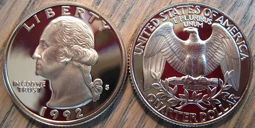 1992-S Clad Deep Cameo Proof Washington Quarter Minimal Toning