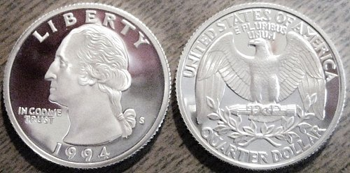 1994-S SILVER Deep Cameo Proof Washington Quarter BLAST WHITE COLOR