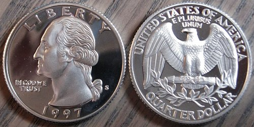 1997-S SILVER Deep Cameo Proof Washington Quarter BLAST WHITE COLOR