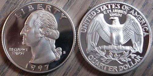 1997-S SILVER Deep Cameo Proof Washington Quarter BLAST WHITE COLOR