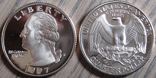 1997-S Clad Deep Cameo Proof Washington Quarter Blast White Color Minimal Toning