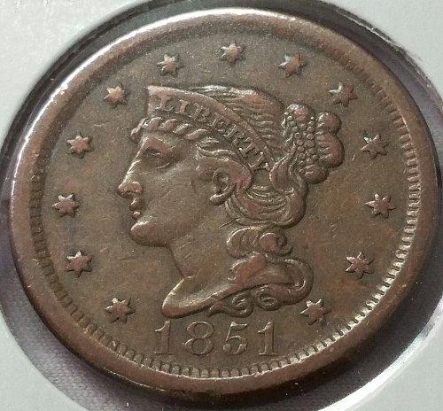 1851 Braided Hair Liberty Head Large Cent ~ VF 30