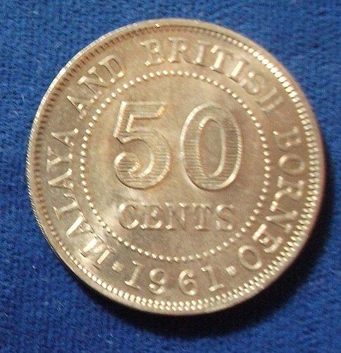 1961 Malaya and British Borneo 50 Cents UNC