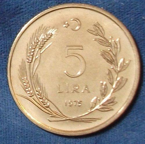 1975 Turkey 5 Lira BU