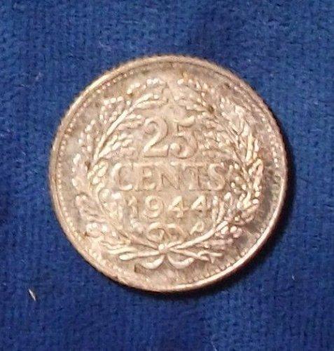 1944P Netherlands 25 Cents BU