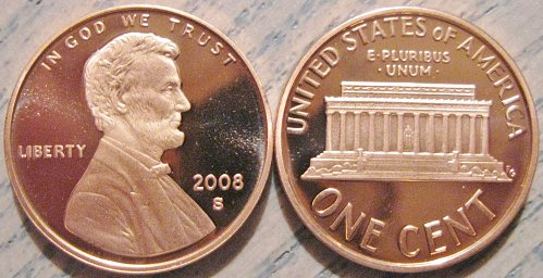 2008-S Deep Cameo Proof Lincoln Memorial Cent - Minimal Toning