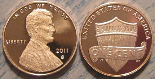2011-S Deep Cameo Proof Lincoln Shield Cent - Minimal Toning